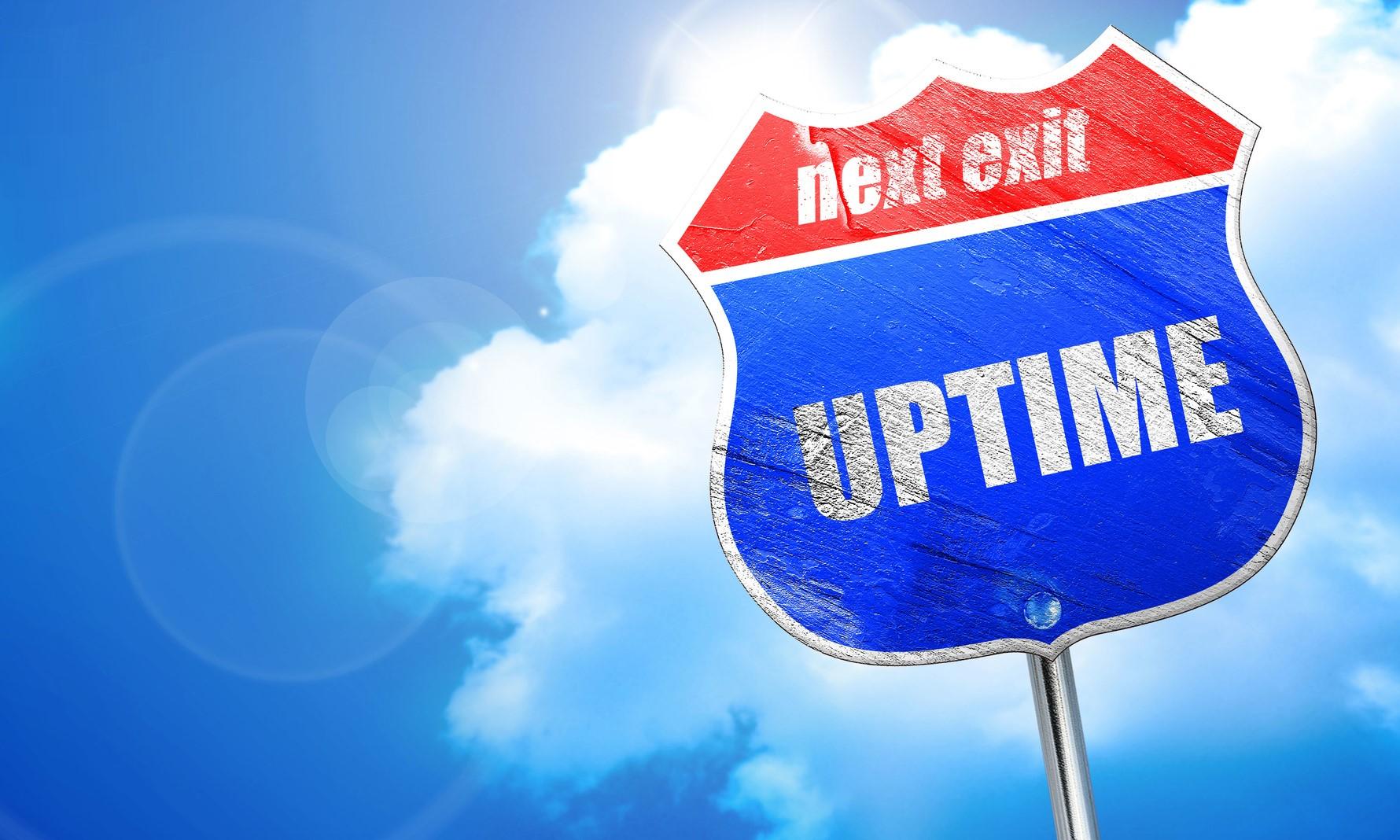 uptime, 3D rendering, blue street sign