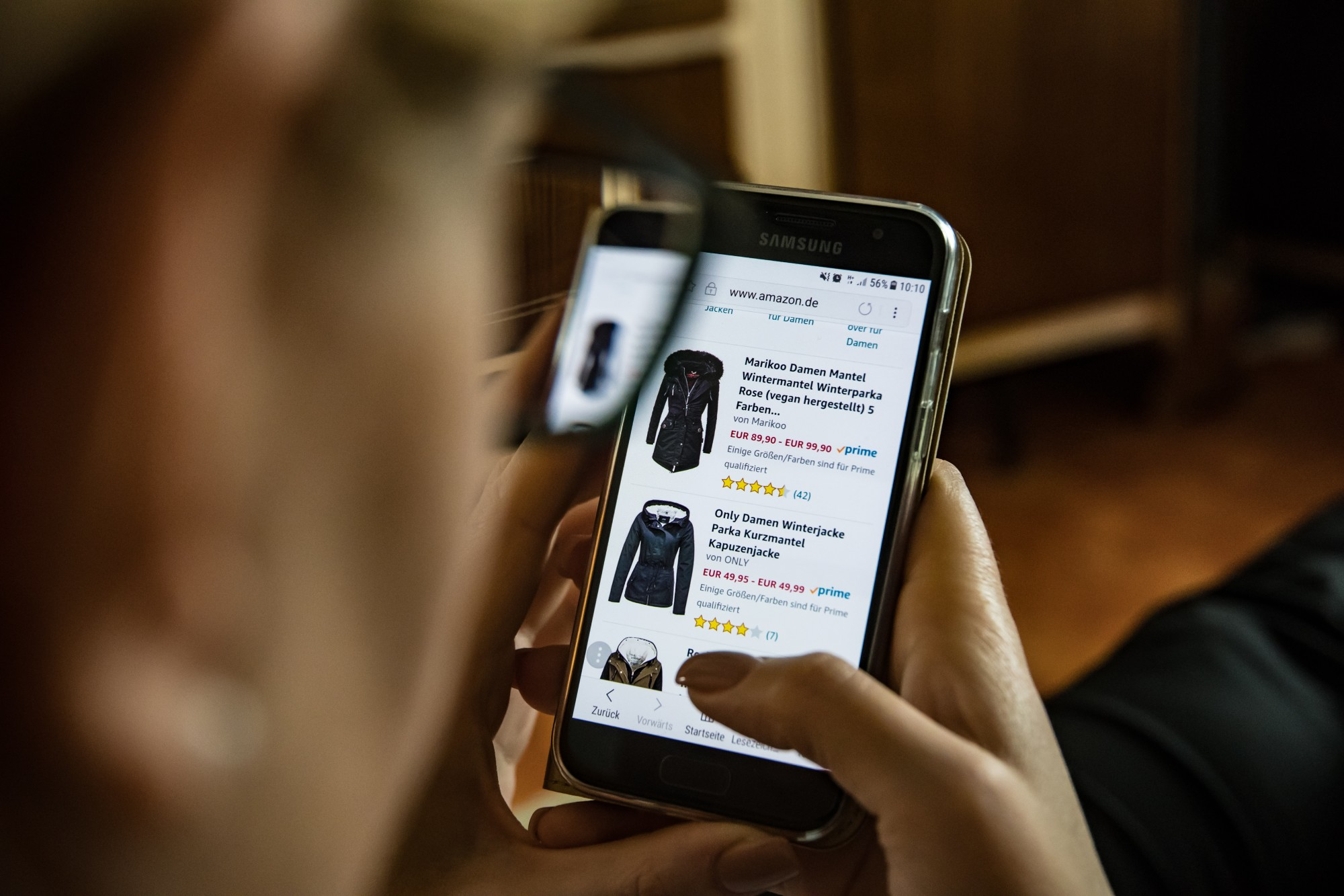 Person Shopping on a Mobile Website